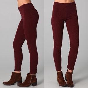 Free People Cable Knit Leggings Burgundy Pants S